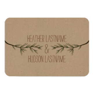 Evergreen Branches Rustic Wedding R.S.V.P. Card