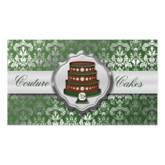 Evergreen Cake Couture Glitzy Damask Cake Bakery Business Card