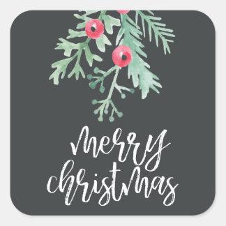 Evergreen Christmas Holiday Sticker Slate