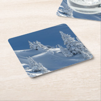 Evergreen Firs Covered with Winter Snow Square Paper Coaster