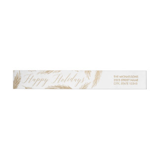 Evergreen Frost Gold Holiday Wraparound Label Wraparound Return Address Label