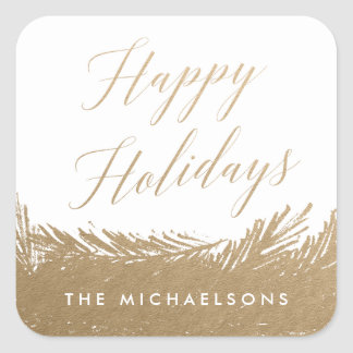 Evergreen Frost Personalized Gold Holiday Stickers