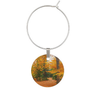 Evergreen Pines and Autumn Trees Wine Glass Charm