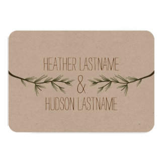 Evergreen Tree Branches Wedding Save The Date Card