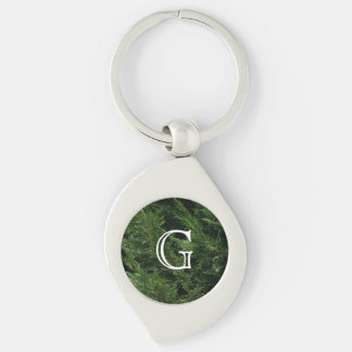 Evergreen Tree - Cypress Boughs Silver-Colored Swirl Key Ring