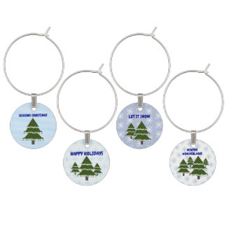 Evergreen Tree With Snow Wine Charm