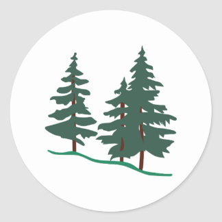 Evergreen Trees Classic Round Sticker