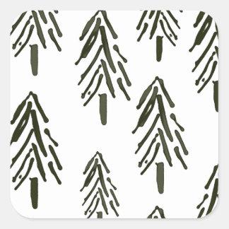 Evergreen trees square sticker
