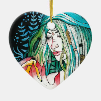 Evergreen - Watercolor Portrait Ceramic Ornament