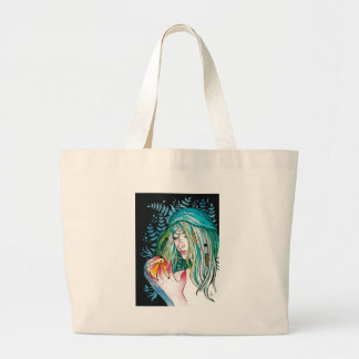 Evergreen - Watercolor Portrait Large Tote Bag