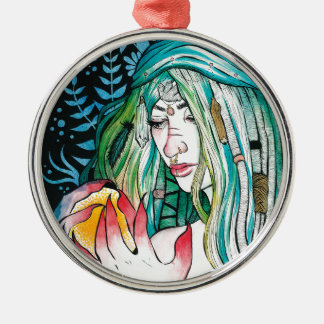 Evergreen - Watercolor Portrait Metal Ornament