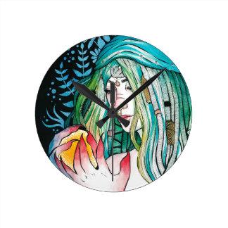Evergreen - Watercolor Portrait Round Clock