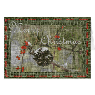Evergreen with Pinecone and berries Christmas Card