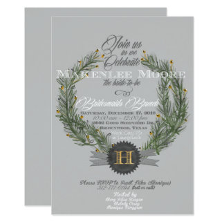 Evergreen Wreath w/Monogram Invitation
