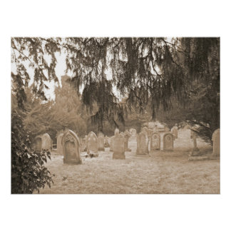 Evergreens And Gravestones Poster