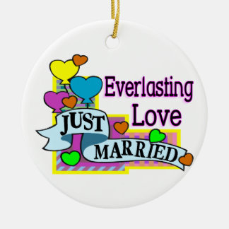 Everlasting Love Just Married Heart Balloons Round Ceramic Decoration