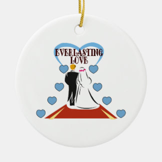 Everlasting Love Wedding Double-Sided Ceramic Round Christmas Ornament
