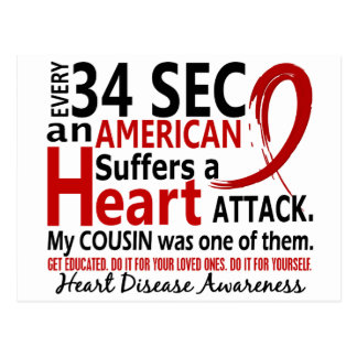 Every 34 Seconds Cousin Heart Disease / Attack Postcard