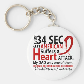 Every 34 Seconds Dad Heart Disease / Attack Basic Round Button Key Ring