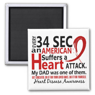 Every 34 Seconds Dad Heart Disease / Attack Square Magnet