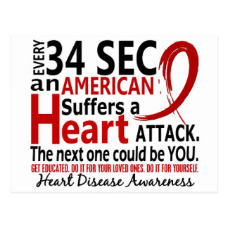 Every 34 Seconds Heart Disease / Attack Postcard