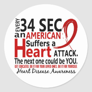Every 34 Seconds Heart Disease / Attack Round Sticker