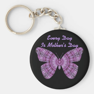 Every Day is Mother's Da, Purple fractal butterfly Key Chain