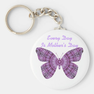 Every Day is Mother's Da, Purple fractal butterfly Basic Round Button Key Ring