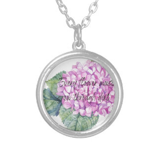 Every flower must grow through dirt silver plated necklace