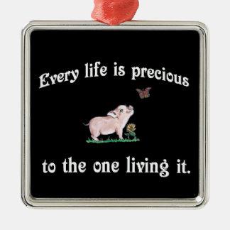 Every Life is precious Cute Pig Christmas Ornament