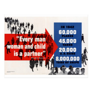 Every man woman and child is a partner postcard