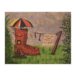 Every Old Sock Meets An Old Shoe Wood Canvases