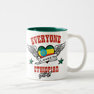 Every one loves an Ethiopian girl Two-Tone Coffee Mug