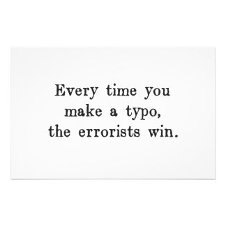 Every Time You Make a Typo The Errorists Win Stationery