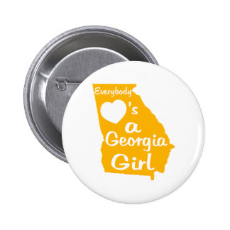 Everybody Loves a Georgia Girl Gold and White 6 Cm Round Badge