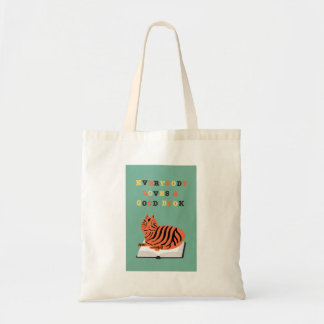 Everybody Loves a Good Book with Funny Cat Tote Bag