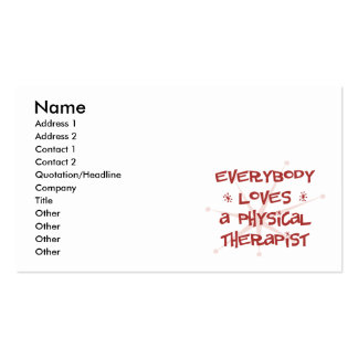 Everybody Loves A Physical Therapist Business Card Templates