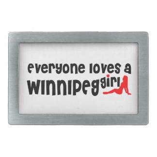 Everybody loves a Winnipeg Girl Rectangular Belt Buckles