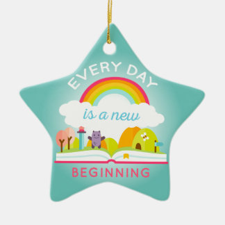 Everyday is a new beginning cute rainbow ceramic star decoration