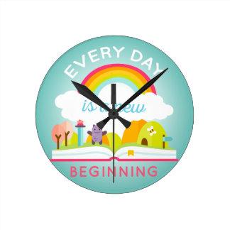 Everyday is a new beginning cute rainbow round clock