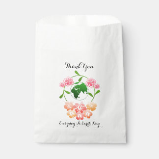 """Everyday is Earth Day"" Floral Favor Bags. Favour Bag"