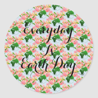 """Everyday is Earth Day"" Floral Stickers. Classic Round Sticker"