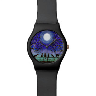 Everyday or Halloween black cats wrist watch