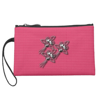 Everyday_Silver_Roses-Spring_Rose_Cluth Suede Wristlet