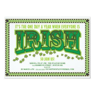 Everyone is Irish St. Patrick's Day Party 13 Cm X 18 Cm Invitation Card