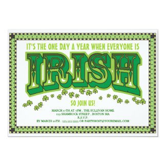 Everyone is Irish St. Patrick's Day Party 5x7 Paper Invitation Card