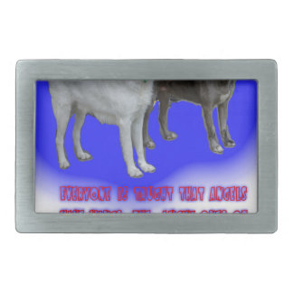 Everyone is taught that angels have wings. rectangular belt buckle
