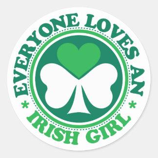 Everyone Loves an Irish Girl Round Sticker