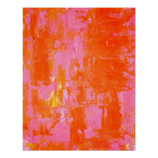 'Everyone's Fav' Orange and Pink Abstract Art Poster