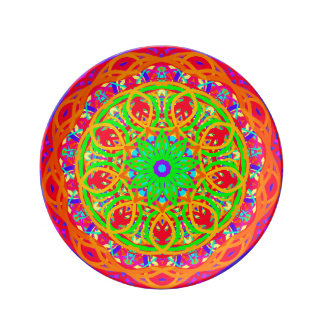 Everyone's Invited Orange Mandala Porcelain Plate